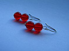 Sassy Vintage Cherry Red Drops Earrings by SassyLemonade on Etsy, $10.00