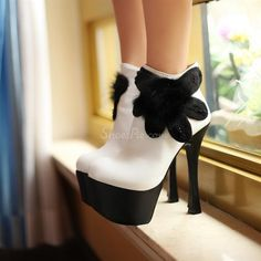 Chic Matching Color Platform Stiletto Heels Ankle Boots with Flower