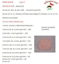 MİNNİ MAUSE TARİFİ Crochet Stitches, Crochet Patterns, Crochet Horse, Crochet Disney, Mini, Free Crochet, Pop, Crochet Mickey Mouse, Crocheted Animals