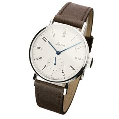 Stowa Antea small second silver with dark brown leather strap. A second complication at 6 o'clock. Beautifully understated Bauhaus design that lends itself to both dress and casual wear.