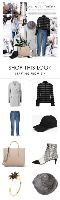 """""""City Slickers: Patent Leather"""" by thewondersoffashion ❤ liked on Polyvore featuring Witchery, Cinq à Sept, Frame, Boohoo, Christian Louboutin, Bally, Bee Goddess and Harrods"""