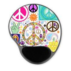 Peace Paisley Collage Mousepad Gel Pad