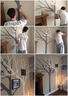 Our hand painted tree wall art! DIY family tree. White and grey on top of cappuccino wall colour. Addition of photo frames tied on to the tree with string to complete the natural look.