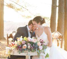 Outdoor sweetheart table  A Stylized Wedding at Emerald Acres Wedding Barn   WeddingDay Magazine