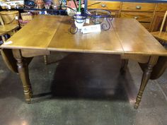 """This solid gate-leg table could be used as a foyer or hall table when it's not needed for dining! Then, when extra dinner guests are arriving, it could be set up and even expanded using the two 12"""" leaves. What a wonderfuly versatile table! Dimensions are 30-1/2"""" x 40"""" (completely closed) 60"""" x 40"""" (open) 84"""" x 40"""" (open w/both leaves)"""