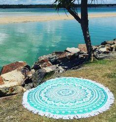 Gretta Green Ombre Boho Bohemian Round Beach Yoga Fringe Tapestry