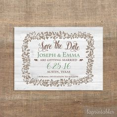 Rustic Save the Date Invitation Digital Wedding by laprintables