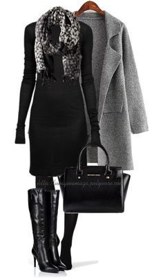 Classy Fall Outfit in Black and Grey – Fashion – Elegant Classy Fall Outfits, Outfits Casual, Mode Outfits, Ladies Outfits, Grey Fashion, Look Fashion, Autumn Fashion, Womens Fashion, Fashion Trends