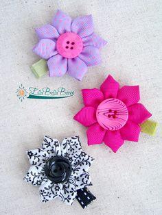 Starflower & Sunflower Ribbon Sculpture by EllaBellaBowsWI on EtsyItems similar to Sunflower Hair Clip, Hair Bow, One Button center, handsewn petals on Etsy Ribbon Crafts, Flower Crafts, Ribbon Bows, Fabric Crafts, Ribbon Hair Clips, Making Hair Bows, Diy Hair Bows, Diy Bow, Cloth Flowers