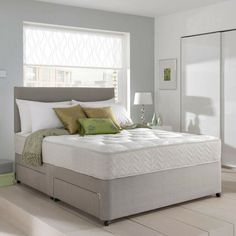 MEMORY FOAM DIVAN BED SET WITH MATTRESS AND HEADBOARD 3FT 4FT6 Double 5FT King · $114.95 Bedroom Sets, Bedroom Wall, Bedding Sets, Bedroom Furniture, 4ft Beds, Divan Sets, Ottoman Storage Bed, Guest Bed, Bed Sizes