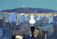Seattle Skyline, Paris Skyline, Greece Painting, Street Art, 10 Picture, Printmaking, Folk Art, Print Patterns, Landscape