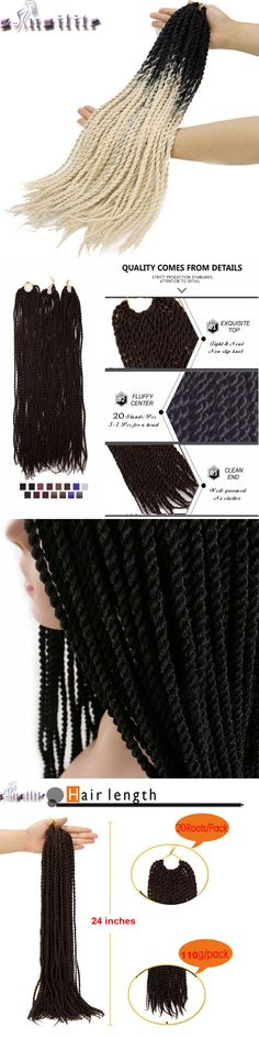 s-noilite Ombre Crochet Braids one pack, 20strands/pack 24'',small Senegalese Twist Hair Synthetic Braiding Hair extensions