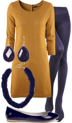 love this musturd yellow dress with the navy thights