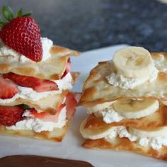 Strawberry and banana fruit stacks that are to die for!