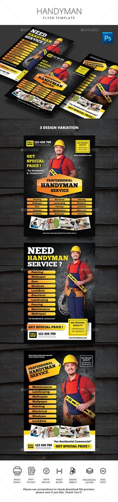 buy handyman flyer by monggokerso on graphicriver handyman file features size bleed area cmyk 300 dpi easy to edit text well organized psd file 3 al