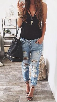 Image result for distressed jeans outfit