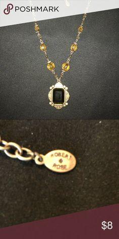 Robert Rose Necklace gold tone/ dark green Faux dark green stone Robert Rose Jewelry Necklaces