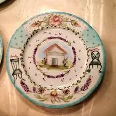 Pintado durante un seminario de Ani Alonso Magia Pura Painted Plates, Hand Painted Ceramics, Ceramic Plates, Porcelain Ceramics, China Porcelain, Decorative Plates, Pottery Painting, Ceramic Painting, China Clay