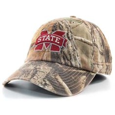 '47 Brand Mississippi State Bulldogs Real Tree Ii Franchise Cap ($20) ❤ liked on Polyvore featuring men's fashion, men's accessories, men's hats, camo, mens caps and hats and mens camo hats