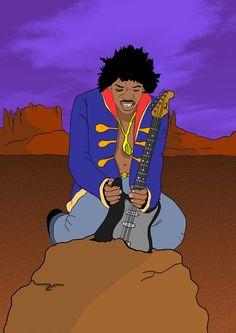 Tema dell'esercizio: La chitarra nella roccia. Rappresentare un musicista alle prese con la sua chitarra incastonata in una roccia.