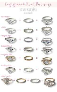 7 Different Engagement Wedding Band Pairings // Find your perfect ring…