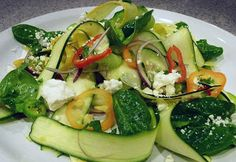 Zucchini Ribbon Salad with Feta, Mint, and Cucumber Shared on https://www.facebook.com/LowCarbZen | #LowCarb #Salad #Sides