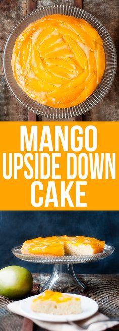 Mango Upside Down Cake - Really delicious but I used mango nectar instead of orange juice. Mango Dessert Recipes, Mango Recipes, Lemon Desserts, Sweet Recipes, Cake Recipes, Mango Cupcakes, Mango Cake, Mango Upside Down Cake, Peach Mango Pie