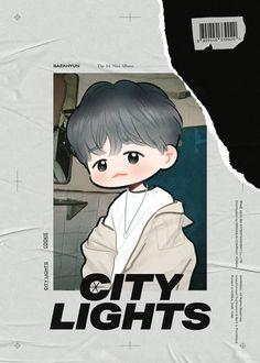 City Lights by cookieee on FanBook Baekhyun Fanart, Chanbaek Fanart, Fanart Bts, Exo Cartoon, Exo Stickers, Exo Anime, Exo Fan Art, Kpop Drawings, Kpop Exo