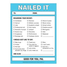 """Knock Knock Nailed It nifty notes are funny work memo notes & coworker gift ideas. Need fun gifts that say you're awesome? Knock Knock says, """"Nailed it!"""