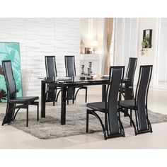 Florence Extending Black Glass Dining Table with 6 Dining Chairs Extendable Glass Dining Table, Black Glass Dining Table, Contemporary Dining Table, Oak Dining Table, Dining Table Design, Dining Sets, Table And Chairs, Dining Chairs, Dining Room Furniture