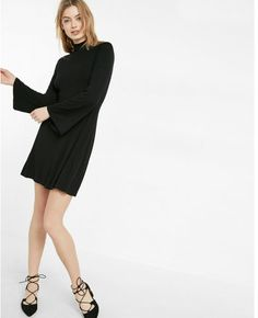 Bell Sleeve Mock Neck Fit And Flare Dress Black Women's Medium Signature Look, What I Wore, Mock Neck, Flare Dress, Fit And Flare, Hue, Outfit Of The Day, Bell Sleeves, Stylish