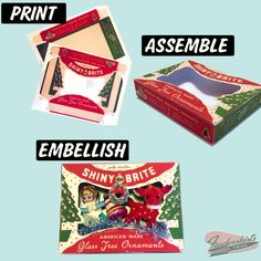 Vintage Christmas Ornaments, Christmas Toys, Christmas Images, Christmas Ideas, Shiny Brite Ornaments, Ornament Box, Miniature Christmas, Mini Things, Craft Sale