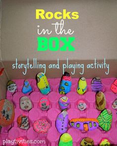 STORYTELLING ACTIVITY THAT ROCKS.Looking for a storytelling activity to encourage child's imagination and boost creative thinking?How about these colored rocks that will blow your child's mind.And creative storytelling over the roof! Fun Crafts For Kids, Craft Activities For Kids, Family Activities, Motor Activities, Writing Activities, Summer Activities, Creative Play, Creative Thinking, Alphabet