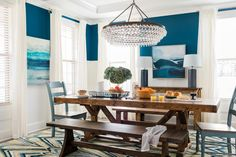 A Farmhouse Dining Room for Color Lovers