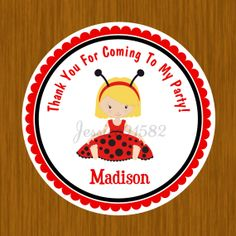Lady Bug Girl Birthday Favor Stickers  Name and by jessica91582, $3.50