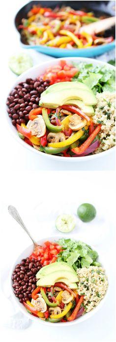 Fajita Quinoa Bowls Recipe on twopeasandtheirpod.com If you like fajitas, you…