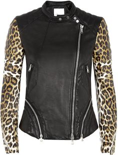 3.1 Phillip Lim Leopard Print Leather Biker Jacket - Lyst @Nordstrom