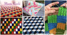 Crochet Block Blanket Free Patterns: Crochet Puff Braid Blanket, Harlequin Blanket, 3D Diamond Blanket, Textured Block Afghan, Mandala Geometric Blanket