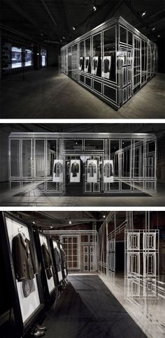 Pop-Up Store that design workshop Campaign completed for Dunhill in NYC's meatpacking district during fashion week.    designed to emulate Alfred Dunhill's London flagship and lifestyle center {Bourdon House}, is almost evocative of a wireframe 3D model