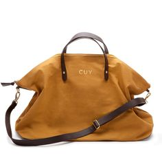 Monogramed Canvas and Leather Weekender Bag Mustard $120