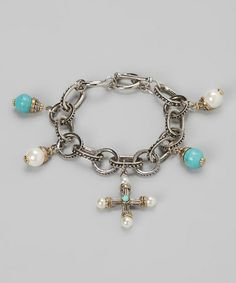 Another great find on #zulily! Turquoise & Pearl Charm Bracelet by Regal Jewelry #zulilyfinds