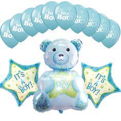 Baby Shower Blue Decoration Foil Balloons Mylar Bouquet It's a Boy Teddy bear #Anagram #BabyShower