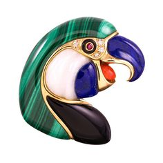 Malachite Lapis Onyx Coral Ruby Diamond Gold Parrot Brooch | From a unique collection of vintage brooches at https://www.1stdibs.com/jewelry/brooches/brooches/