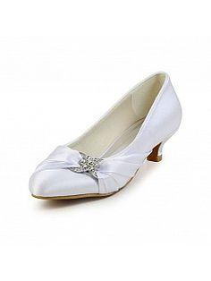 White Satin Low Heel Wedding Shoes with Rhinestone - AUD AU$116.44