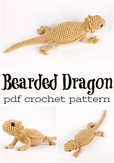 Crafts Super adorable lizard crochet pattern to make a realistic Bearded Dragon amigurumi stuffed toy! Love these kinds of handmade pets! Dragon En Crochet, Crochet Dragon Pattern, Crochet Animal Patterns, Stuffed Animal Patterns, Amigurumi Patterns, Dinosaur Stuffed Animal, Crochet Beard Hat, Crochet Mignon, Bearded Dragon