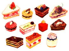 What if you have to describe food by using illustration? Here are 35 beautifully and of course deliciously illustrated food for your inspiration. Cute Food, Yummy Food, Dessert Illustration, Food Sketch, Watercolor Food, Food Painting, Food Drawing, Food Illustrations, Dessert Recipes
