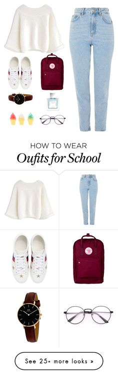 """Back to school !"" by eggxellent on Polyvore featuring Topshop, Gucci, Fjällräven, Daniel Wellington, Vera Wang, BackToSchool, ootd and polyvoreeditorial #schooloutfits"