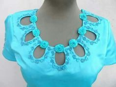 I don't know that I would so many openings but maybe the three in the middle - Modern Saree Jacket Designs, Saree Blouse Neck Designs, Kurta Neck Design, Neckline Designs, Back Neck Designs, Dress Neck Designs, Blouse Designs, Kurta Patterns, Blouse Patterns
