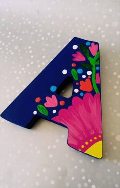 Mexican wood letter Mexican wood name flowered wood letter Painting Wooden Letters, Wooden Wall Letters, Painted Letters, Hand Painted, Large Letters, Painted Wood, Mexican Wall Art, Mexican Flowers, Fiesta Theme Party