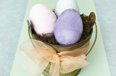 egg-shaped chalk: colored plaster of paris and plastic eggs!